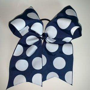 Other - Large Navy polka dot Cheer bow- NEVER USED!
